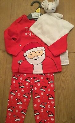 Mothercare Age 3-6 Months That's Not My SANTA Christmas Pyjamas & Comforter