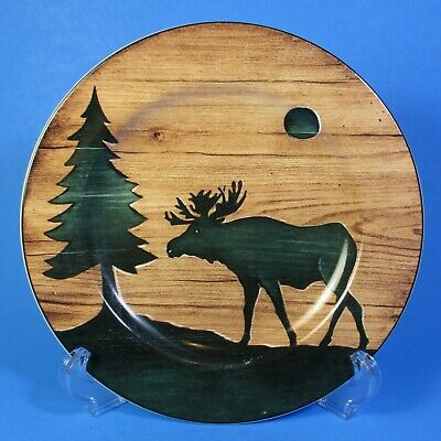 Sakura David Carter Brown Collection LOG CABIN Moose Salad Plate 1