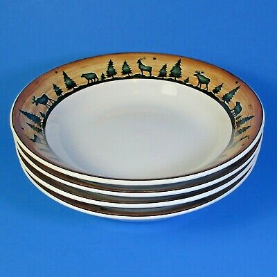 Sakura David Carter Brown Collection LOG CABIN Soup Bowls Set of 4 Bowl