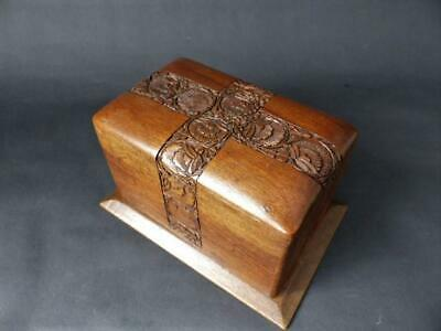 Antique Hand Carved Wooden Playing Cards Box /  Directa Millennium Cards