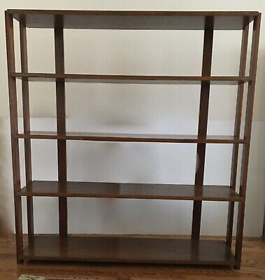 "Vntg Arts & Crafts Mission Style Oak Bookcase Shelf 49 6/8"" W x 53"" H x 11 1/2"