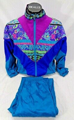 Bold Spirit Vtg 80's Windbreaker Jacket Pants Track Suit Jogging Set Women's Med