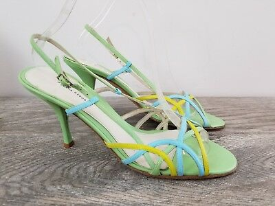 b79f97eae4 BANANA REPUBLIC Mint Green Blue Yellow Leather Strappy Sandals sz 9 VGUC FUN