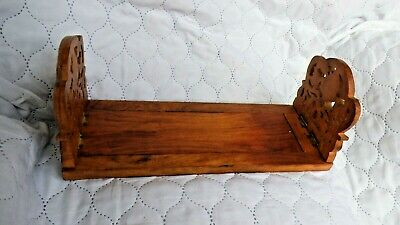 Vintage/ Antique Arts & Crafts solid Wooden Book slide Carved Leaf Ends