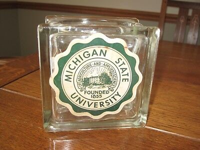 1950's Vintage Glass Block Fish Bowl or Planter  with Michigan State Sticker