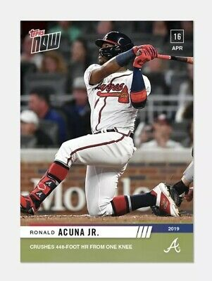 2019 Topps Now #95 Ronald Acuna Jr-Crushes 448-Foot From One Knee (865 PR)