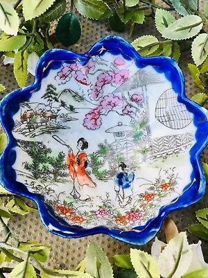 Vintage Chinese Porcelain Footed Fruit Bowl Oriental Motifs Hand Painted