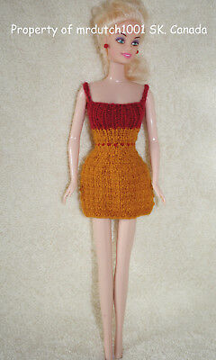 Handknit Short 11.5 Inch Fashion Doll Dress Yellow-Gold and Red