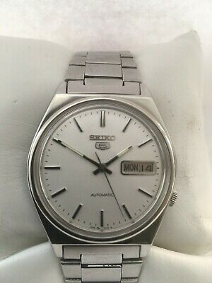 Seiko 5  Men's Vintage White Dial Day/Date Automatic Model 7009-3130  Watch