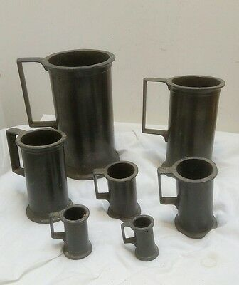 Vintage Set Of 7 Pewter Measuring Cups Tankards Makers Marked