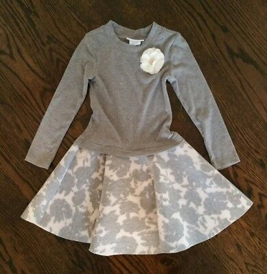 Girls Bonnie Jean Gray Long Sleeve Sweater Party Holiday Dress Tulle Flower - 6