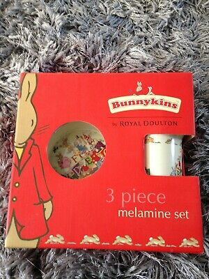 Bunnykins Royal Doulton 3 Peice Melamine Set New In Box