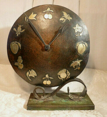 Antique Art Deco Hammered Copper Mantel Clock Brass Fruit Numeral Cast Iron Base