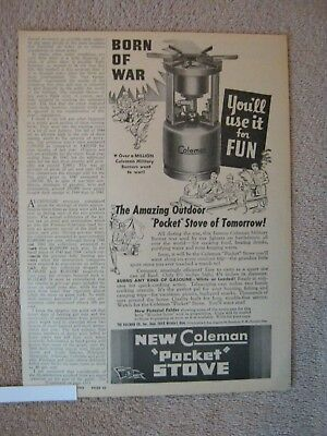 Coleman Pocket Stove 1945 vintage AD WWII *Born of War You/'ll Use it for Fun*