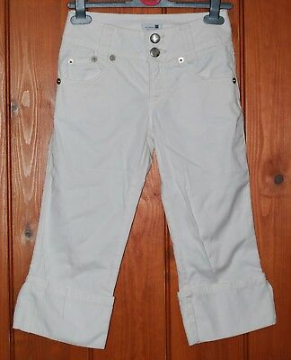 Zara, Girls, Denim, White, Cropped Trousers, Capri, size 10 years