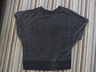 womens ladies size 20 quiz black sparkly batwing top short sleeved brand new