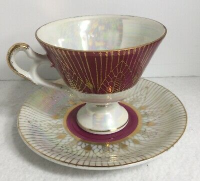 Royal Sealy China Lusterware Tea Cup And Saucer Iridescent Burgundy Gold