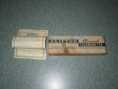 Vintage Clifton Clinical Thermometer BOX ONLY & Flyer Rexall Drug Company USA