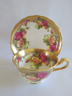 "Vintage Royal Chelsea England ""Golden Rose"" Teacup & Saucer #1"