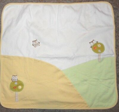 Gymboree Forest Friends Owl Baby Blanket White Yellow Green 2005 2006 Cotton