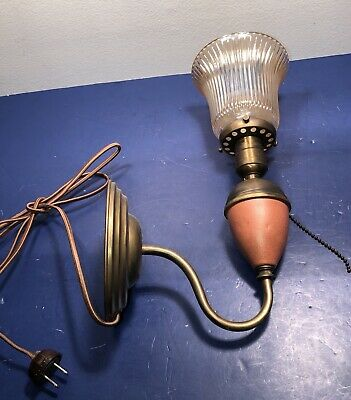 Single Plug In Antique Wall Sconce Glass Shade Rewired 49E