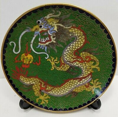 19th Century Chinese Cloisonné and Gilt Brass Dragon Plate, Qing Dynasty