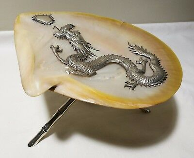 19thC China export mother-of-pearl shell silver dragon mounted by Wang Hing Co.