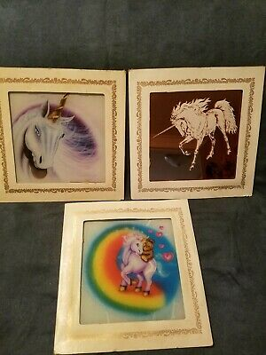 3 Custom Images Co. Glass Pictures Unicorns
