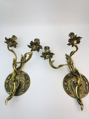 2 Pc Art Deco Hollywood Regency Spain Brass Sconces Wall Light Fixture H