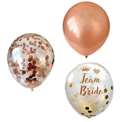 3 Types - Rose Gold Confetti Latex Helium Balloons Wedding Hen Party Team Bride