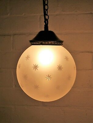 A Vintage Vaughan Lighting Cut Glass Frosted Globe Ceiling Light Antique Style