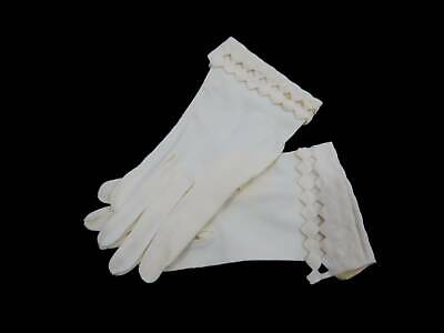 Original Vintage Gloves - Cream Gloves With Diamond Cut Out Cuffs - 1950s
