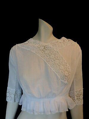 Antique Edwardian Vintage Cotton Lace Blouse - Bust 81 cm