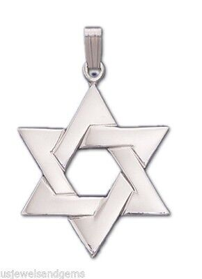 US Jewels And Gems 0.925 Stering Silver Jewish Star of David Mezuzah Case Pendant Charm Necklace