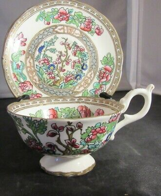 Coalport Indian Tree Footed  Tea Cup and Saucer Old Mark