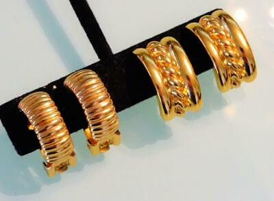 7d1a87fa5 Lot 2 Vtg 1980S Christian Dior + Givenchy Gold Ribbed Braid Huggie Clip  Earrings