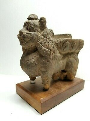 Ancient Indonesian Carved Wood Temple Fragment of Barong with Custom Stand