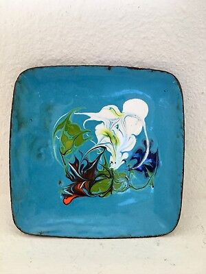Mid-Century Modern Hand Painted Lacquered Metal Ashtray -Vintage Collectible Art