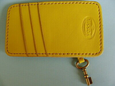 FOSSIL Long Live Vintage Yellow Leather Case/ Card Holder Wallet Brass-Key ~ Exc