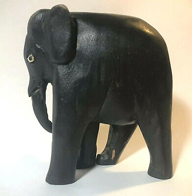"""Hand Carved Solid Wood Walking ELEPHANT Statue Figure - 4"""" Tall"""