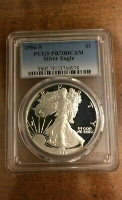 1986-S  Proof American Silver Eagle PCGS PR70DCAM (First Year Of Issue)
