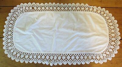 "Vintage Ecru Ivory or Off White Crocheted Doily 30"" x 16"""