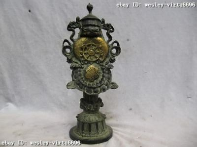 Tibet Buddhism collection Old Bronze Gilt Auspicious Lucky Eight treasures Fa Qi