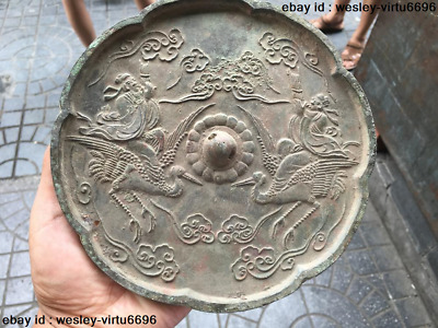 Pure Bronze China Mythical Celestial being Ride red-crowned crane Bronze Mirror