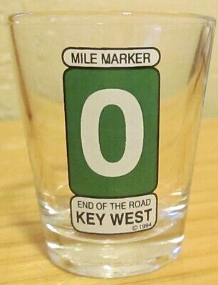 Pre-Owned Mile Marker 0 Key West FL Clear Shot Glass