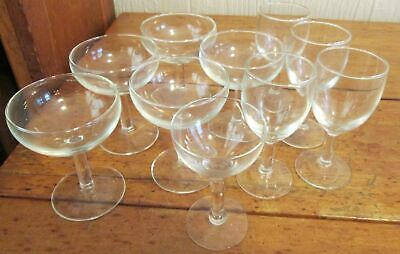 Vintage Lot of 4 Clear Glass Wine Glasses Stemware