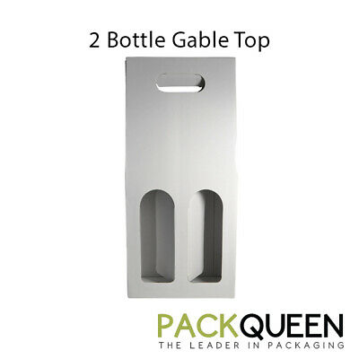 25 x 2 Bottle Gable Top Gloss White (177 x 87 x 397mm) Wine Gift Boxes