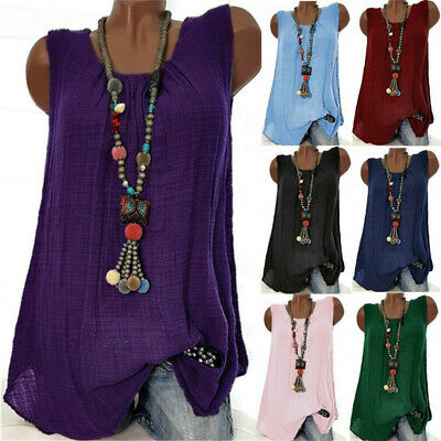 Womens Sleeveless Cotton Linen Tank Tops Vest Ladies Summer Solid T-Shirt Blouse