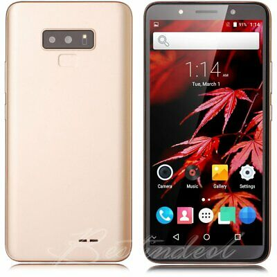 """Gold Android 7.0 Unlocked 6.0"""" Cell Phone Quad Core 2 SIM 3G T-Mobile Smartphone"""