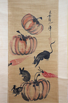 RARE Chinese 100%  Handed Painting & Scroll Pumpkin By Qi Baishi 齐白石 南瓜 NKMN1418
